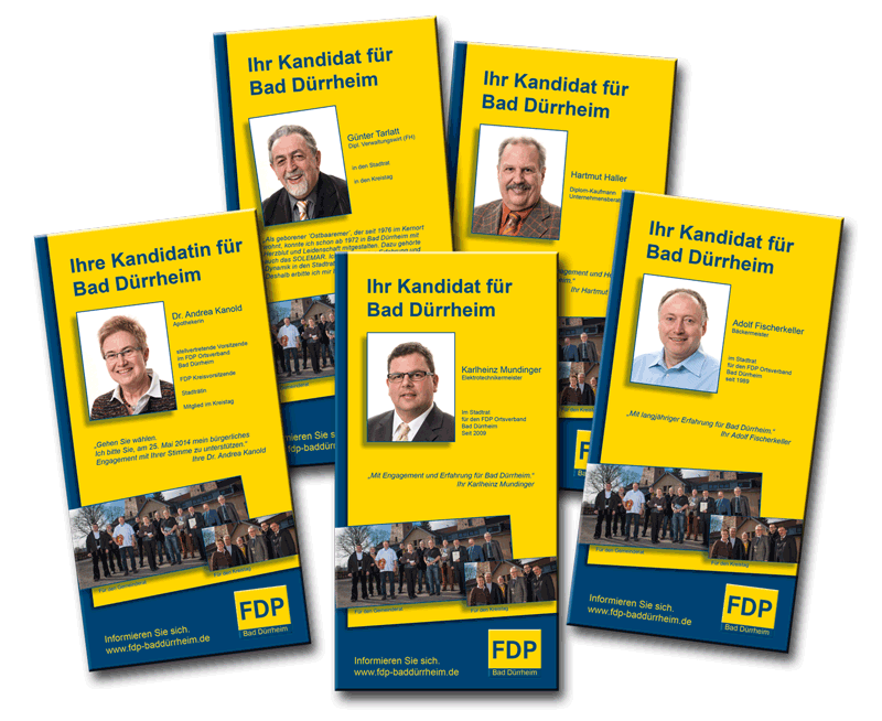 Flyer der einzelnen Kandidaten der FDP Bad  Dürrheim