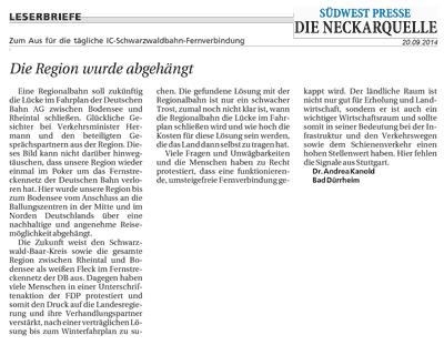 Leserbrief von Frau Dr. Andrea Kanold zum Aus für die IC-Schwarzwaldbahn-Fernverbindung