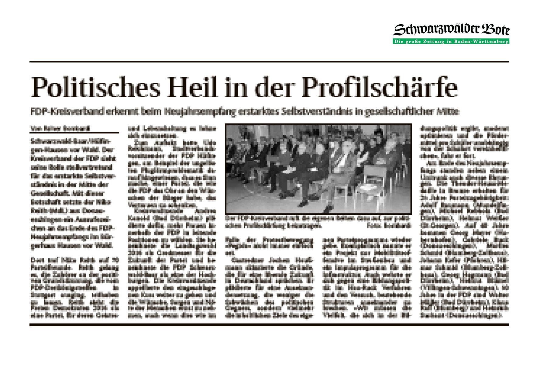 Bericht zum Neujahrtreffen des FDP-Kreisverbandes