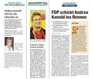 Bild der Presseartikel zur Landtagskandidatur von Andrea Kanold
