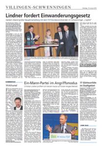 """Zeitungsbericht der SWP zum Neujahrsempfang der FDP mit Christian Lindner im """"Capitol"""" Schwenningen"""