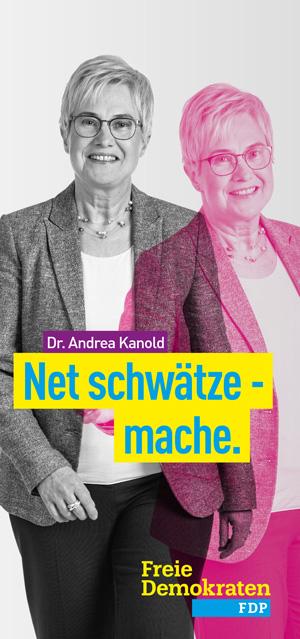 Hier klicken um den Folder zur Landtagswahl von Dr. Andrea Kanold, FDP, zu öffnen.